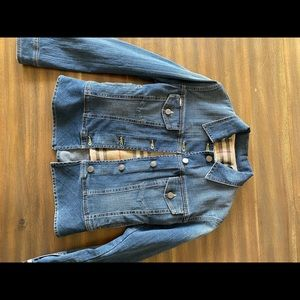 Burberry London Women's Size 4 Denim Jacket lined with removable wool plaid.